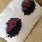 Pink and Blue Mermaid Sequin Eyelashes Pillowcase