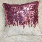 Pink and White Sequin Square Pillow
