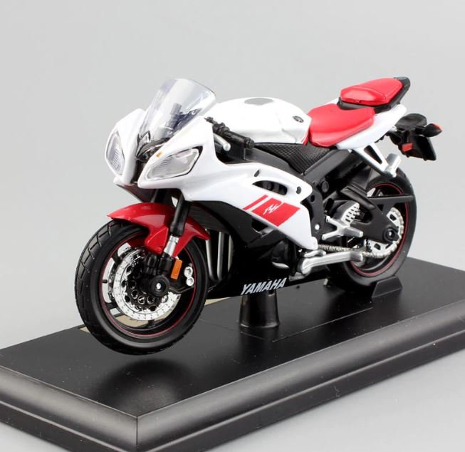 YAMAHA YZF-R6 WhiteRed 1:18 Die Cast Metal Motorcycle Model Miniature