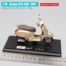 Vespa GTS 300 2017 Krem 1:18 Die Cast Metal Motorcycle Model Miniature