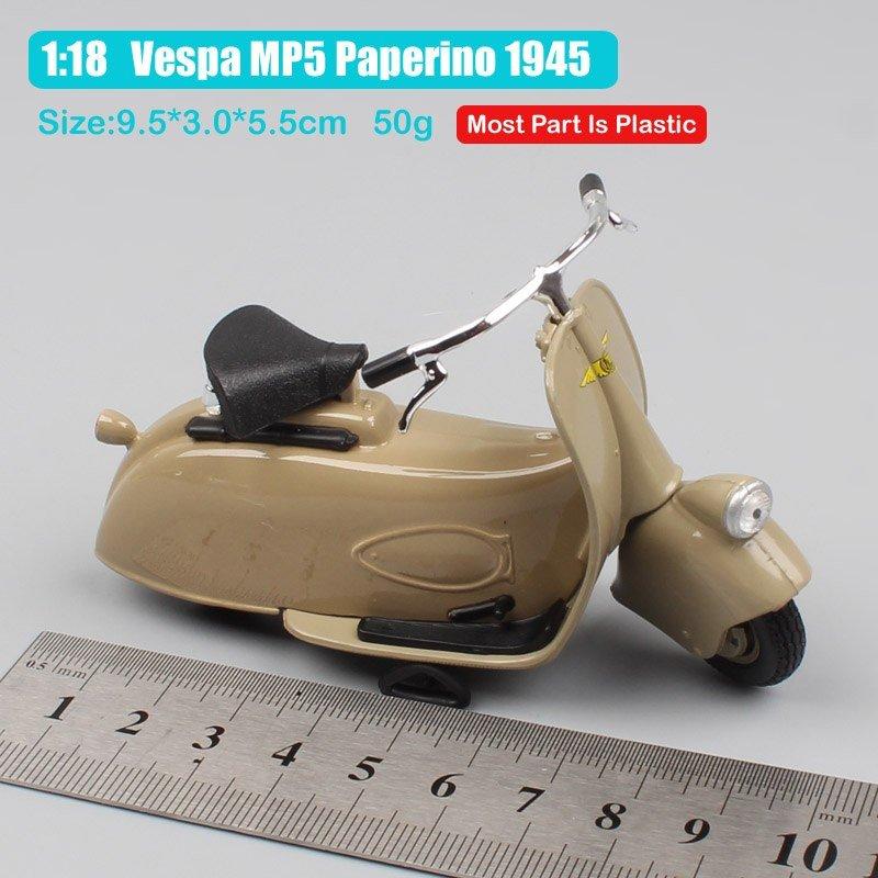 Vespa MP5 Paperino 1945 Brown 1:18 Die Cast Metal Motorcycle Model Miniature