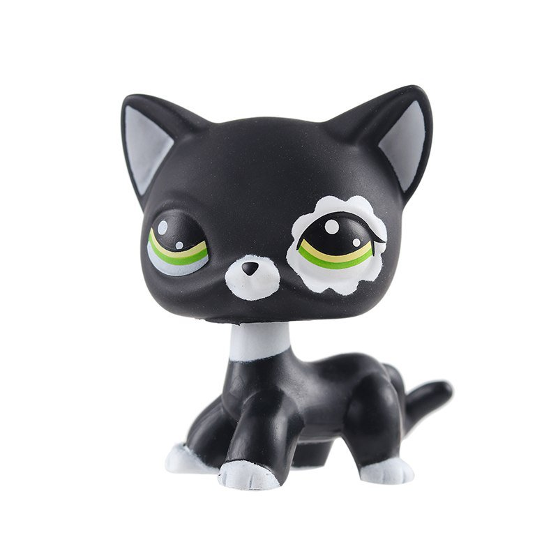 Cat Black White with Strip Green Eye Little Pet Shop 1:60 LPS Cute Collection