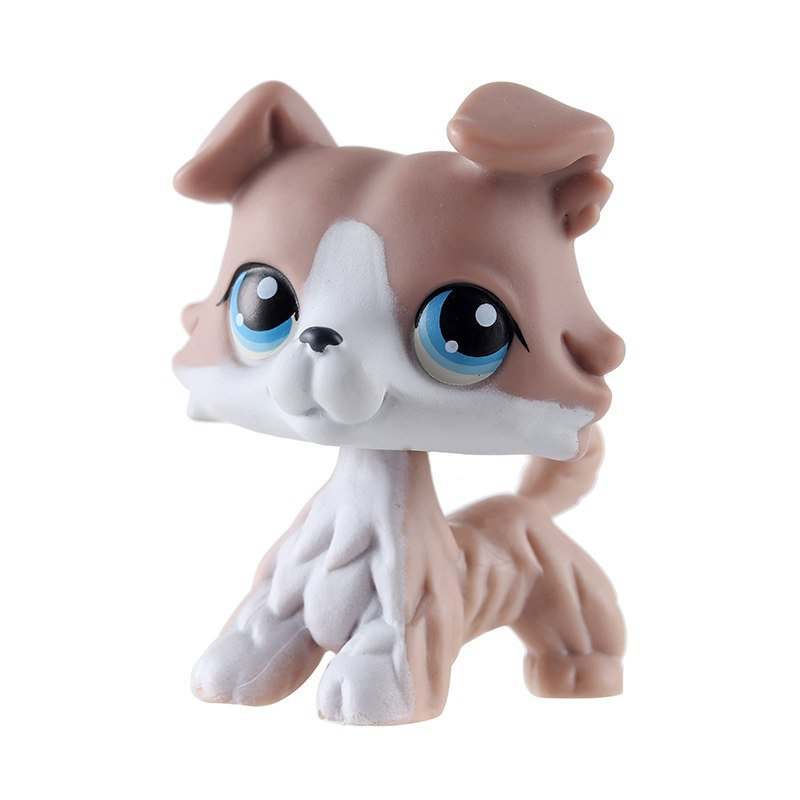 Dog Brown White with Strip Blue Eye Little Pet Shop 1:60 LPS Cute Collection