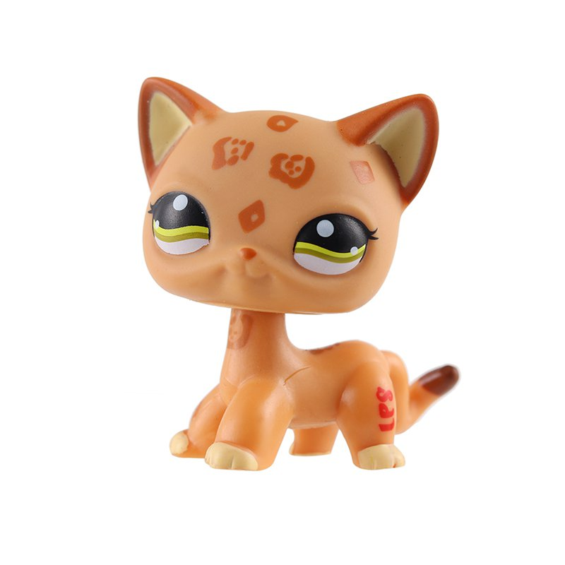 Cat Orange Semi Brown with Strip Faded Green Eye Little Pet Shop 1:60 LPS Cute Collection