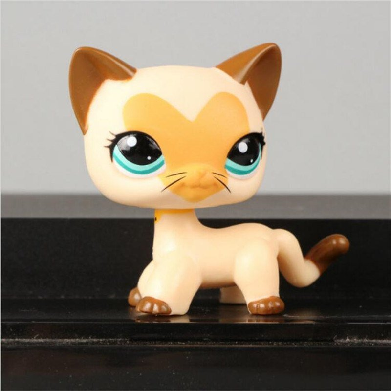 Cat Cream Motif Love on Face with Strip Green Eye Little Pet Shop 1:60 LPS Cute Collection