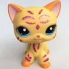 Cat Yellow Sparkle Pink On Face with Strip Blue Eye Little Pet Shop 1:60 LPS Cute Collection