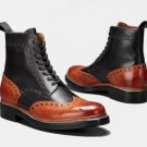 New Men Handmade Ankle High Leather Lace Up Boots, Men Wing Tip Two Tone Boots