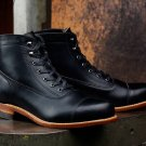 Handmade Tire Sole Combat Black Ankle High Leather Boots Men Jeans Causal boot