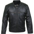 New Handmade Men Antique Zippers Black Leather Jacket with Padded Shoulders