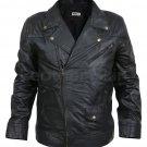New Handmade Men Maroon Red Stripe Panels Black Genuine Leather Jacket XS to 6XL
