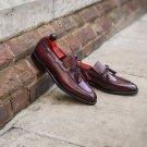 Handmade men leather shoe, brown string loafer for men, formal leather shoes