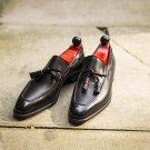 Handmade men leather shoe, black string loafer for men, formal leather shoes