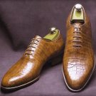 Men's Handmade Leather Shoes Formal Crocodile Texture Leather Men Brown Shoes