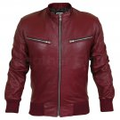 Men Maroon Red Genuine Leather Jacket with Elastic Bottom