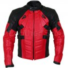 New Handmade Men Red Motorcycle Padded Genuine Cow Leather Jacket XS to 6XL
