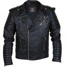 Men Black Brando Motorcycle Leather Jacket with shoulder epaulets and padded sleeves