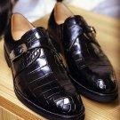 Men,s Handmade Leather Shoes Monk Strep Crocodile Texture Leather Men Black Shoe