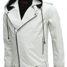 Magnificent White Men's Hooded Leather Jacket, men new style jacket