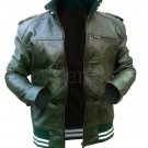 NWT Stylish Green Men Genuine Leather Jacket with Stretchable Material