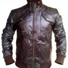 NWT Stylish Brown Men Genuine Leather Jacket with Stretchable Material
