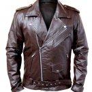 NWT Stylish Brown Men Brando Style Genuine Leather Jacket
