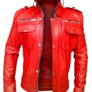 NWT Stylish Red Men Style Genuine Leather Jacket with Long Collar
