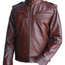 Leather Skin Men Reddish Brown Genuine Leather Jacket