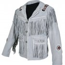 Men White Western Style Fringes Cowboy Suede Leather Jacket with XS to 6XL Sizes