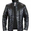 Homemade Men Black Quilted Genuine Leather Jacket