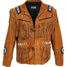 New Handmade Men's Western Style Suede Leather Jacket Handmade Cowboy Fringe Suede Leather