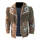 Men Brown Western Style Suede Leather Jacket Handmade Cowboy Fringe Beads