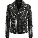 Mens Plein Punk Style Studded Genuine Leather Jacket Bespoke Real Leather Jacket
