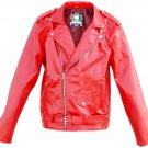 Homemade Leather Unisex Punk Red Brando Belted Genuine Leather Jacket w/ front pocket