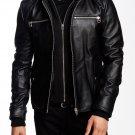 NEW HANDMADE  Men Black Detachable Fabric Hooded Leather Jacket, Biker Leather Jacket Men