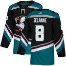 Men's Anaheim Ducks #8 Teemu Selanne Black/Teal Alternate Stitched Jersey