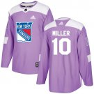 J T  Miller Men's New York Rangers Fights Cancer Purple Stitched Jersey