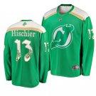 Men's Devils #13 Nico Hischier 2019 St. Patrick's Day Green Player Jersey