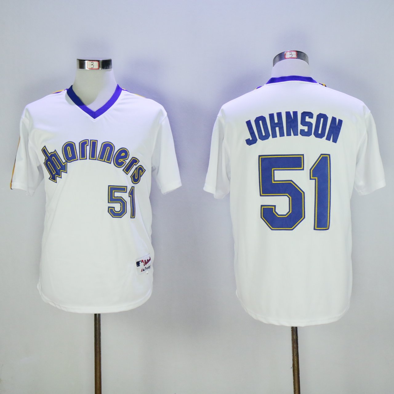 first rate f3546 bba32 Men's Seattle Mariners Randy Johnson White Pullover Throwback Jersey