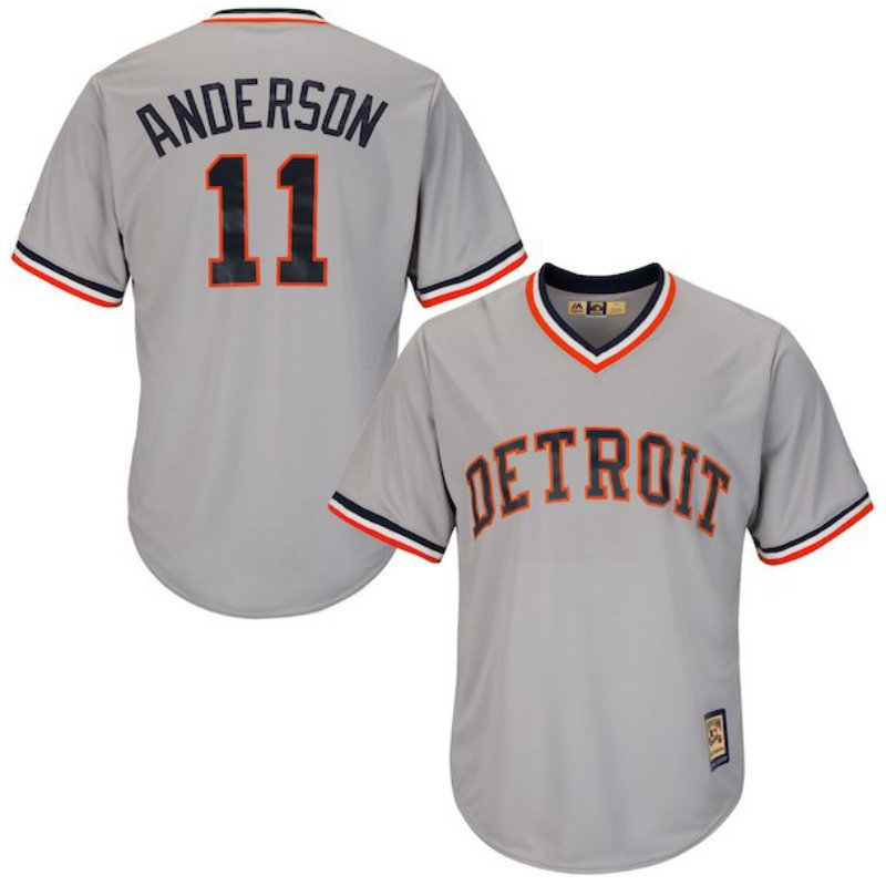 timeless design 8536a e421b Men's Detroit Tigers Sparky Anderson Gray Throwback Jersey