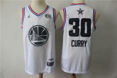 best loved ddcb6 4f5bc Men's Golden State Warriors #30 Stephen Curry White 2019 All Star  Basketball Jersey