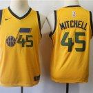 Youth Utah Jazz Donovan Mitchell Yellow Basketball Jersey Stitched