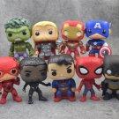 League & Marvel Avengers 9pcs/set 10cm Iron Man Thor Hulk Action Figure Anime Mini Decoration PVC Co