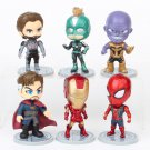6pcs/set Marvel Avengers Ironman Iron Spiderman Thanos Captain Marvel American Doctor Strange Car Ac