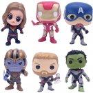 6pcs/set Marvel Avengers Super Hero Iron Man Thanos Hulk Thor Captain American PVC Action Figure Toy