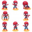 8pcs/set Marvel Avengers Spiderman Cute Car Decoration Figure Collection Model Toys package by bag