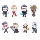 8pcs/set Marvel Avengers Loki Thor Ironman Star Lord God of War Winter Solider Cute Figure Model Toy