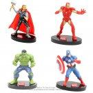 Disney Marvel Avengers 4pcs/set 9cm Iron Man Hulk Thor Captain America Action Figure Anime Mini Coll