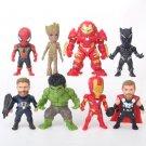 Disney Marvel Avengers Iron Man Captain America spider 8pcs/set Action Figure Anime Mini PVC Collect