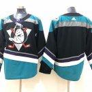 Custom Teemu Selanne Men's Anaheim Ducks Stitched Black Teal Jersey