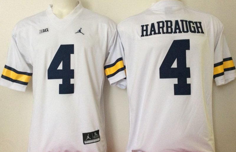 Men Michigan Wolverines 4 Jim Harbaugh Navy White College Football Stitched Jersey